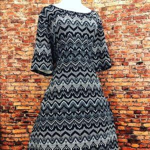 Avenue Black White Geo Fit Flare Dress